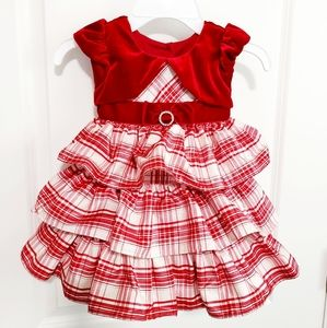 Cream and Red Plaid Dress with Velour Bolero 18M